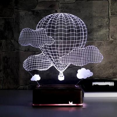 Balon ve Bulutlar 3D Led Lamba - Thumbnail