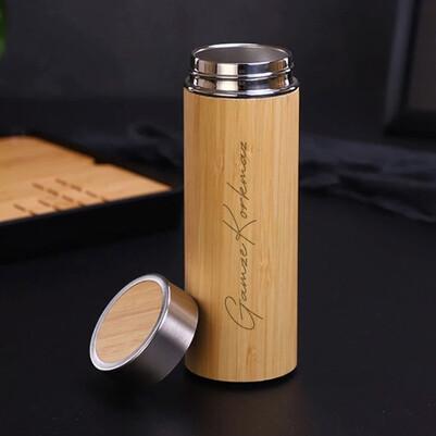 Bambu Gövde Paslanmaz Çelik İsimli Termos - Thumbnail