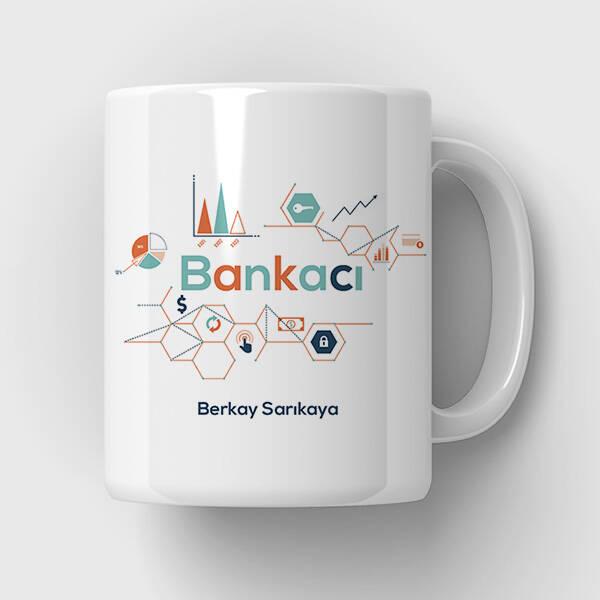 Bankacıya Hediye İsimli Kupa Bardak