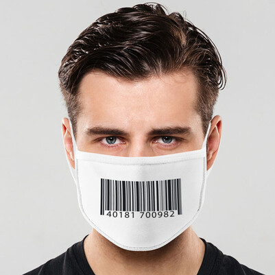 - Barkod Tasarımlı Yıkanabilir Ağız Maskesi