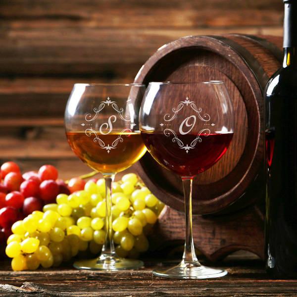 Baş Harfli Şarap Kadehi Seti