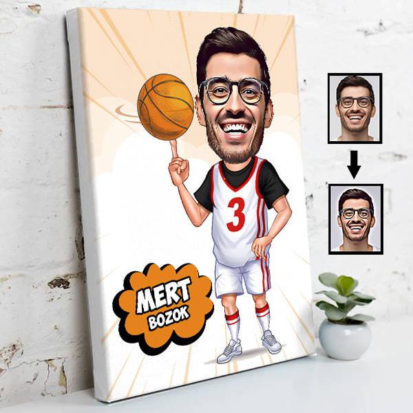 Basketbol Meraklısı Karikatürlü Kanvas Tablo
