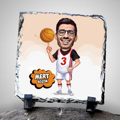 - Basketbol Meraklısı Karikatürlü Taş Baskı