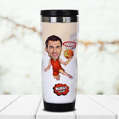 - Basketbol Meraklısı Karikatürlü Termos Bardak