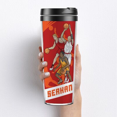 Basketbol Oyuncuları Tasarımlı Termos Bardak - Thumbnail
