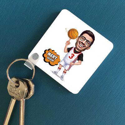 - Basketbol Oyuncusu Karikatürlü Anahtarlık