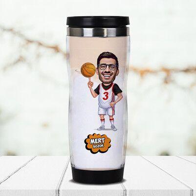 - Basketbol Oyuncusu Karikatürlü Termos Bardak