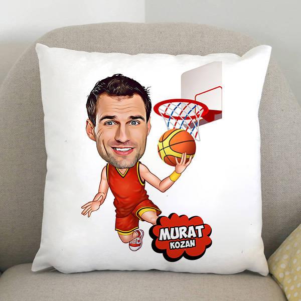 Basketbol Oyuncusu Karikatürlü Yastık