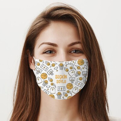 Basketbol Tasarımlı İsme Özel Maske - Thumbnail