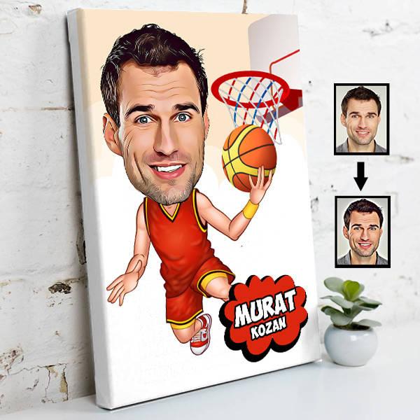 Basketbolcu Karikatürlü Kanvas Tablo