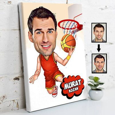 - Basketbolcu Karikatürlü Kanvas Tablo