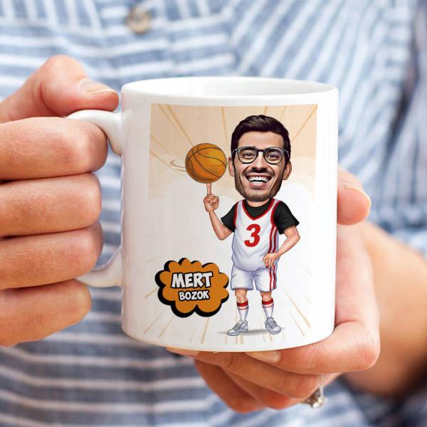 Basketbolcu Karikatürlü Kupa Bardak
