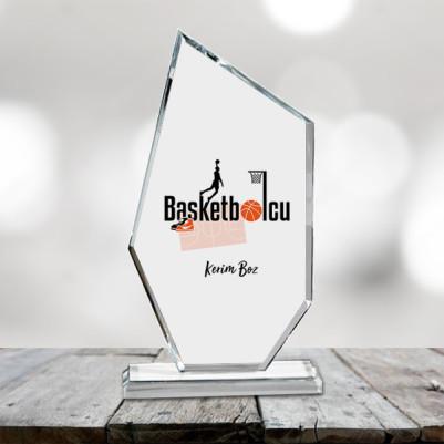 Basketbolculara Özel Kristal Cam Ödül - Thumbnail