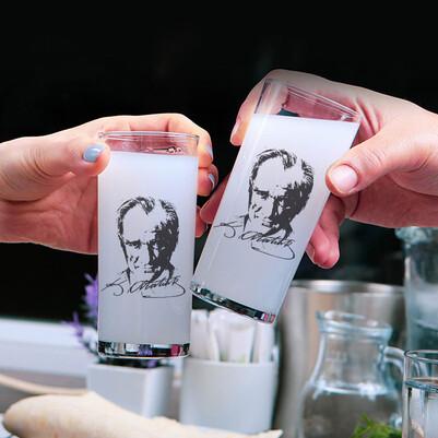 - Baskılı Atatürk Tasarımlı 2li Rakı Bardağı