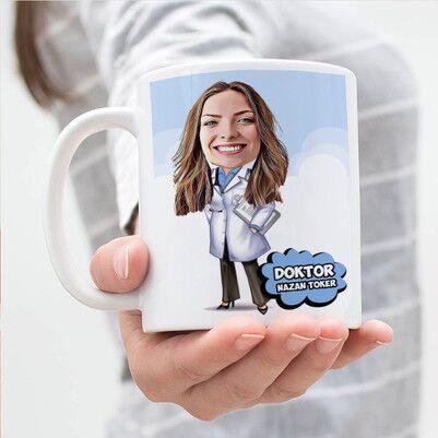 - Bayan Doktorlara Karikatürlü Kupa Bardak