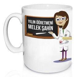 Bayan Öğretmene Özel Mesajlı Kupa Bardak - Thumbnail