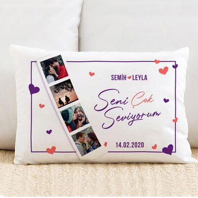 - Bayan Sevgiliye Hediye Fotoğraflı Yastık