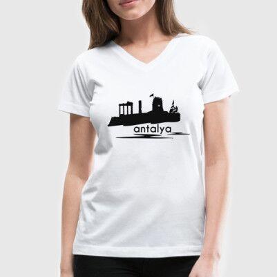 - Bayanlara Özel Antalya Silueti Tişört