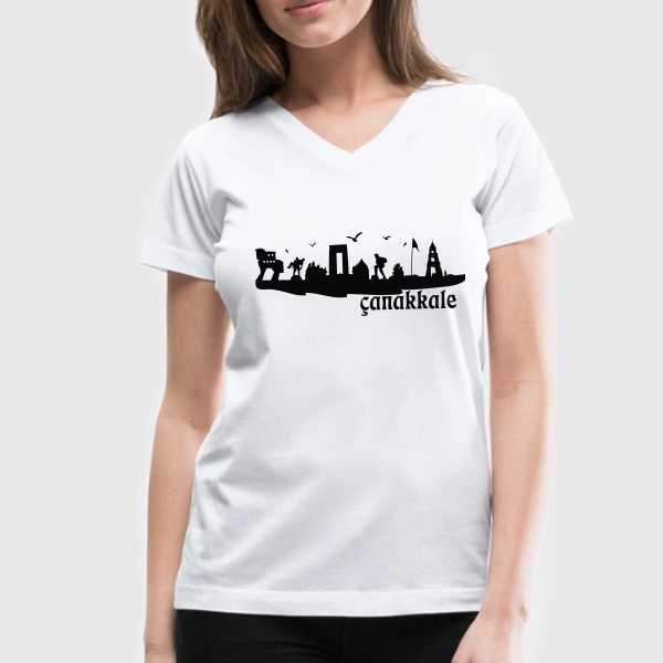 Bayanlara Özel Çanakkale Silueti Tişört