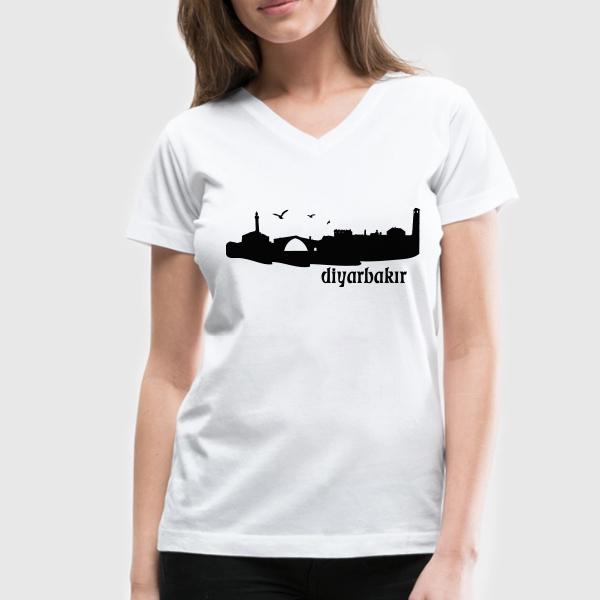 Bayanlara Özel Diyarbakır Silueti Tişört