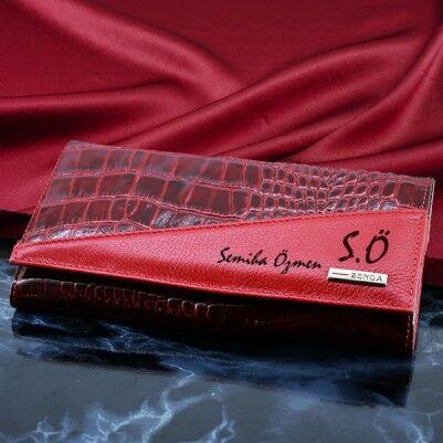 - Bayanlara Özel Kırmızı Rugan Deri Cüzdan