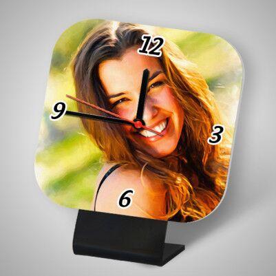 - Bayanlara Özel Yağlı Boya Efektli Masa Saati