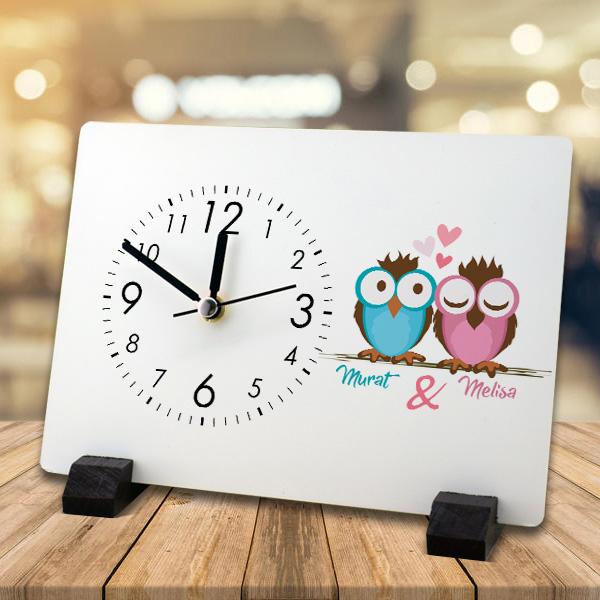Baykuş Sevgililer İsme Özel Masa Saati