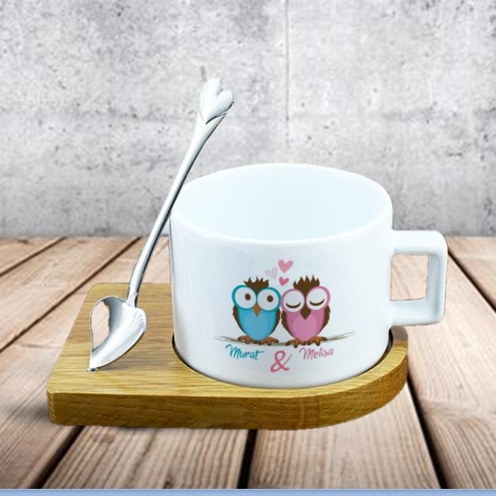 Baykuş Sevgililer Lüks Çay Fincanı