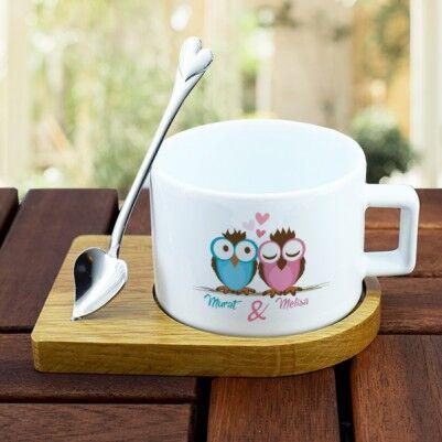 Baykuş Sevgililer Lüks Çay Fincanı - Thumbnail