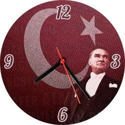 Bayrak ve Atatürk Resimli Duvar Saati - Thumbnail