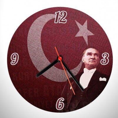 - Bayrak ve Atatürk Resimli Duvar Saati