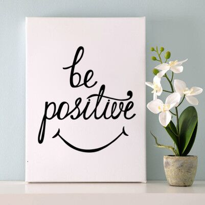 - Be Positive Temalı Motto Kanvas Tablo