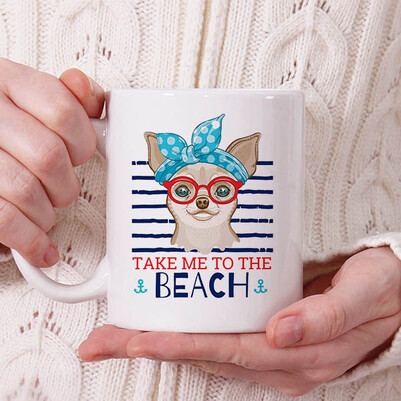 - Beach Dog Tasarım Kupa Bardak