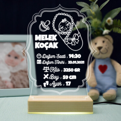 - Bebeğimin Doğum Anısı 3d Led Lamba