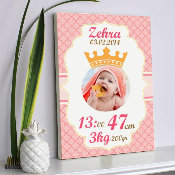 Bebeklere Özel Prenses Kızım Kanvas Tablo