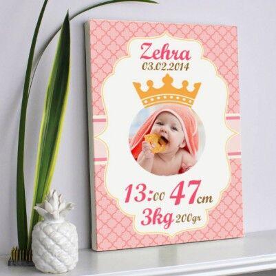 - Bebeklere Özel Prenses Kızım Kanvas Tablo