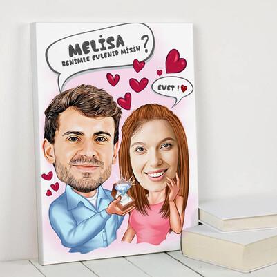 Benimle Evlen Karikatürlü Kanvas Tablo - Thumbnail