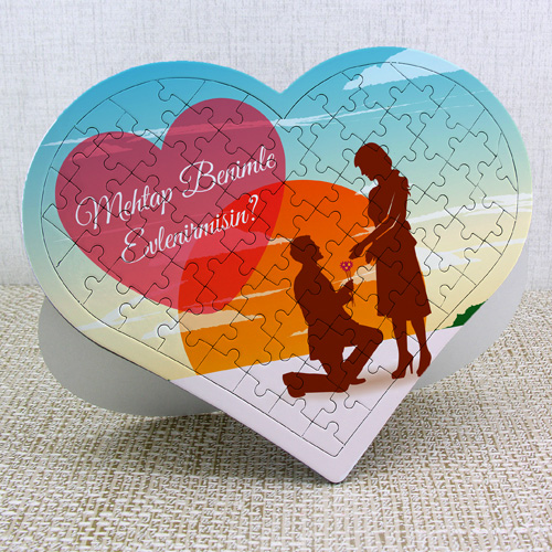 Benimle Evlenir misin Kalp Puzzle