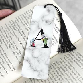 - Beyaz Mermer Tasarımlı Baş Harfli Kitap Ayracı
