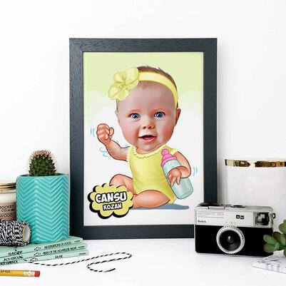 - Biberonlu Bebek Karikatürlü A4 Çerçeve