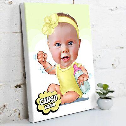 - Biberonlu Bebek Karikatürlü Kanvas Tablo