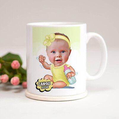 - Biberonlu Bebek Karikatürlü Kupa Bardak