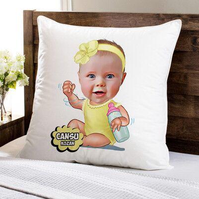 - Biberonlu Bebek Karikatürlü Yastık