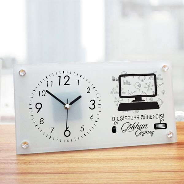 Bilgisayar Mühendisine Hediye Cam Masa Saati