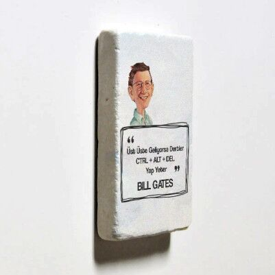 Bill Gates Esprili Taş Buzdolabı Magneti - Thumbnail