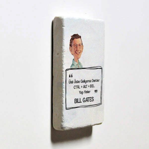 Bill Gates Esprili Taş Buzdolabı Magneti