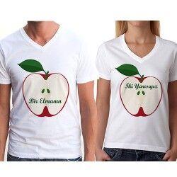 Bir Elmanın İki Yarısı Sevgili Tişörtü - Thumbnail