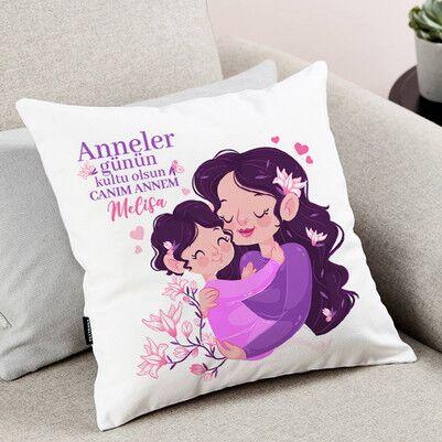 Biricik Annem İsimli Tasarım Yastık - Thumbnail
