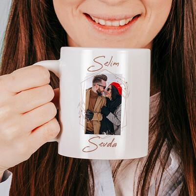 Biricik Aşkım Fotoğraflı ve İsme Özel Bardak - Thumbnail