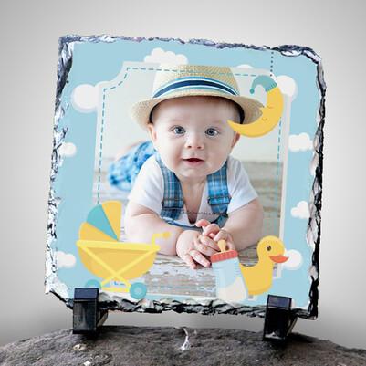 Biricik Oğlum Fotoğraflı Dekoratif Taş - Thumbnail